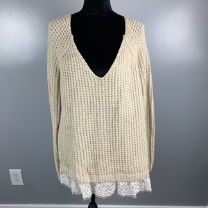 Hollister Tan Sweater with White Lace Size Large